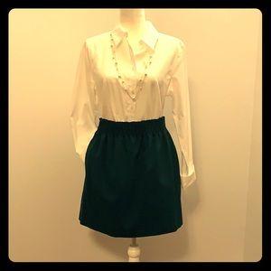 J.Crew gathered waist emerald green skirt